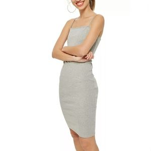 NWT TOPSHOP GREY SQUARE NECK BODY CON MIDI DRESS